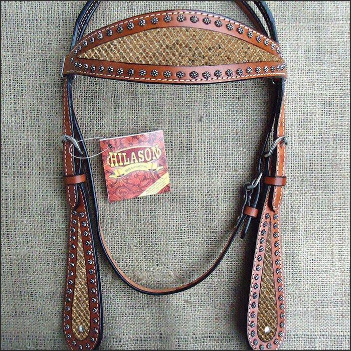HILASON WESTERN LEATHER HORSE HEADSTALL BRIDLE MAHOGANY GOLD INLAY