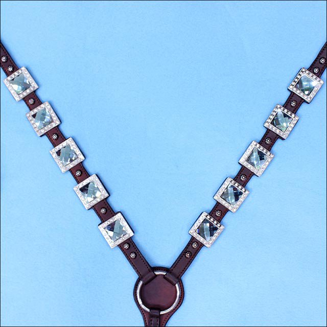 HILASON WESTERN LEATHER HORSE BREAST COLLAR BROWN BLUE BLING CONCHO