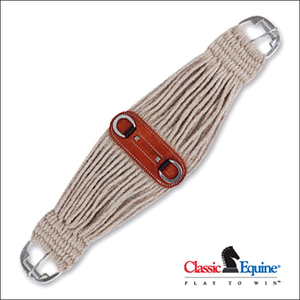26 INCH CLASSIC EQUINE COLT CINCH GIRTH HORSE NATURAL MOHAIR ROLLER BUCKLE HORSE