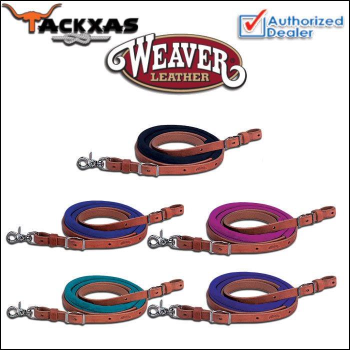 8ft WEAVER LEATHER SUEDE COVERED HORSE TACK ROPING BARREL REINS