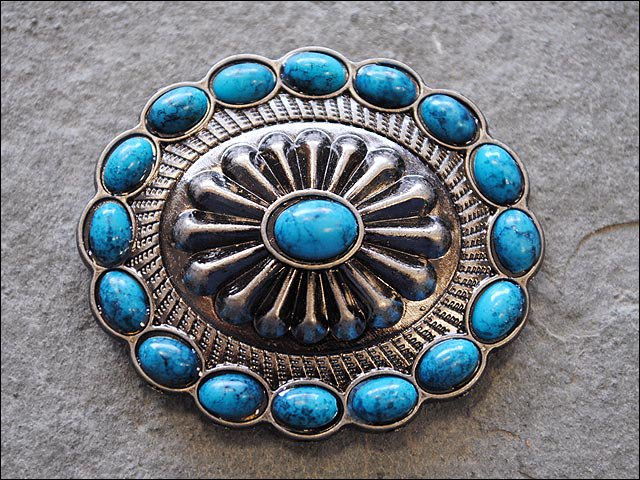 SET OF 2 TURQUOISE OVAL ANTIQUE NICKLE RHINESTONE CONCHOS BLING HEADSTALL TACK