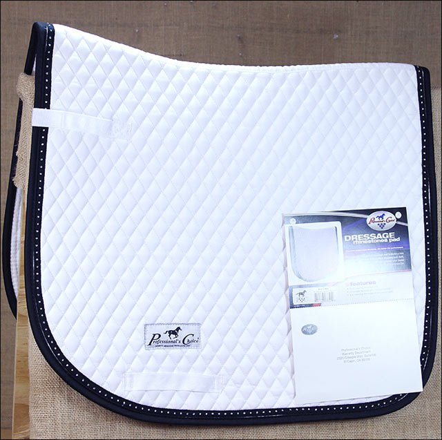 WHITE PROFESSIONAL CHOICE HORSE CRYSTEL BORDER QUILTED DRESSAGE SADDLE PAD
