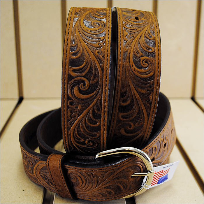 "28"" SILVER CREEK WESTERN SCROLL TOOLED LEATHER MANS BELT BROWN MADE IN THE USA"
