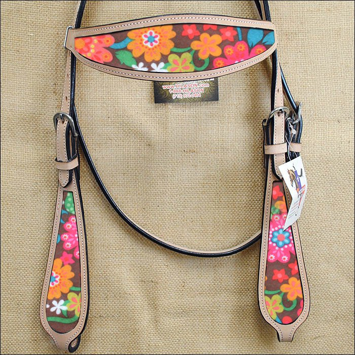 HILASON WESTERN LEATHER HORSE BRIDLE HEADSTALL TAN W/ FLORAL INLAY