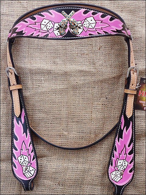 HILASON WESTERN LEATHER HORSE BRIDLE HEADSTALL DICE FLAMES CONCHO