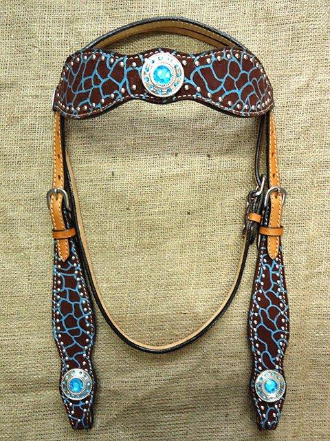 HILASON WESTERN LEATHER HORSE BRIDLE HEADSTALL GIRAFFE BLUE CONCHO