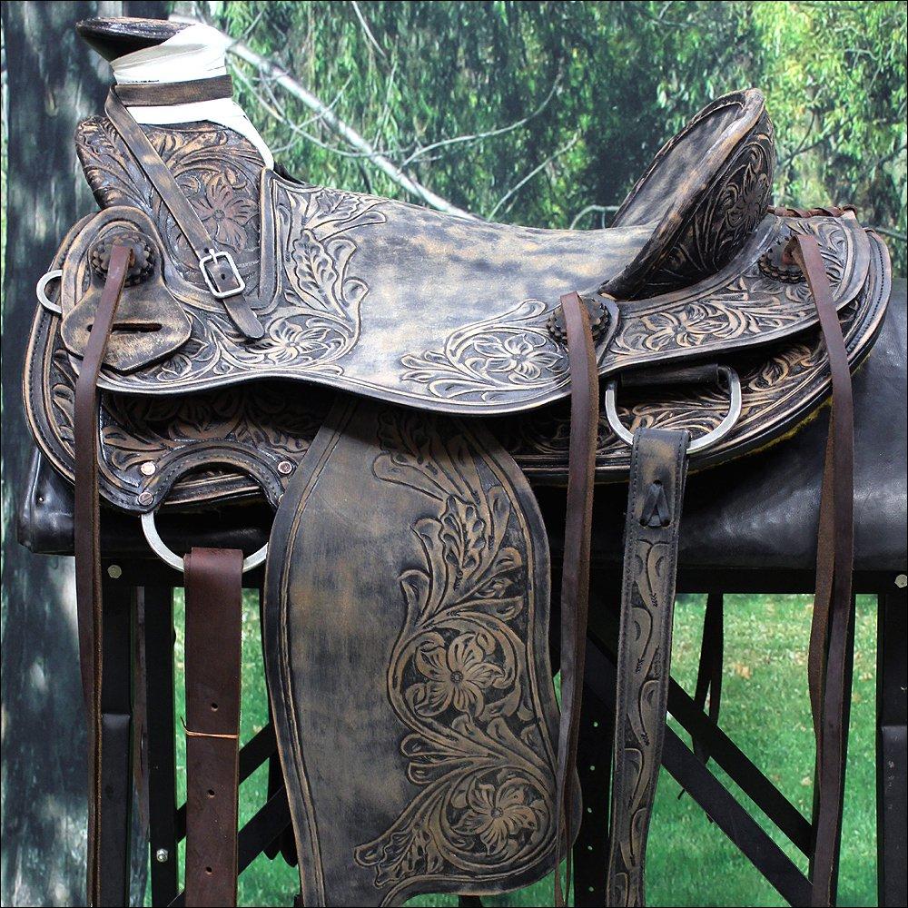 "RI116RODB2 17"" WESTERN LEATHER COWBOY RANCH ROPING PLEASURE RIDING HORSE SADDLE"