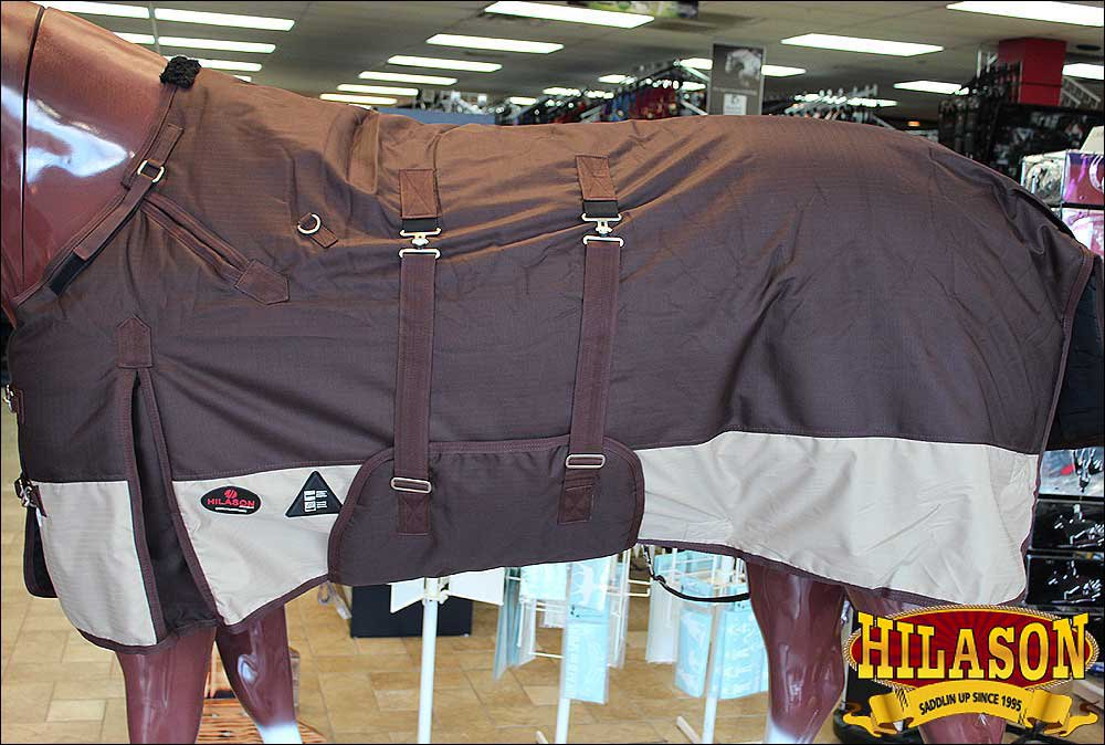 """69"""" HILASON 1200D WINTER WATERPROOF POLY  HORSE BLANKET WITH BELLY WRAP BROWN"""