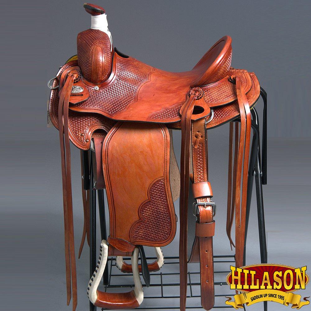 "RS112MRED-F HILASON WESTERN LEATHER BIG KING WADE RANCH COWBOY ROPING SADDLE 15"""
