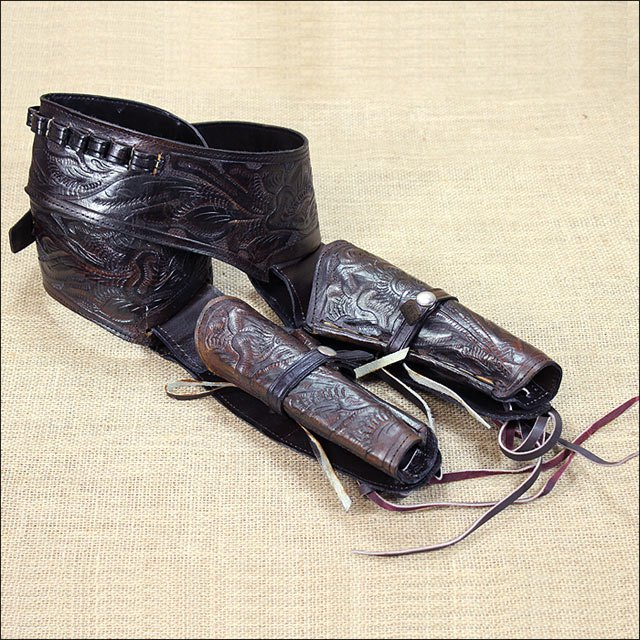 """DOUBLE TOOLED CAL. .44/.45 LEATHER WESTERN COWBOY GUN RIG HOLSTER BROWN 34""""-48"""""""