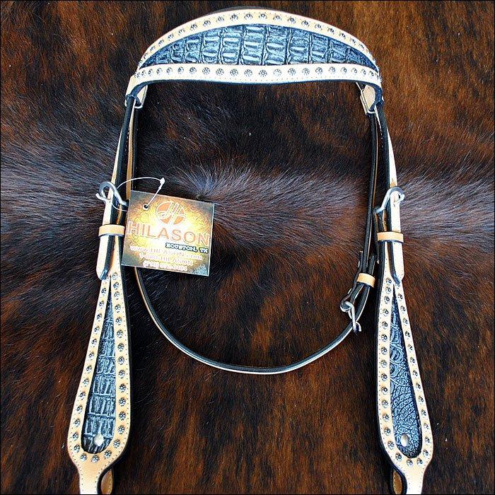 HILASON WESTERN GREY CROCODILE EMBOSSED LEATHER INLAY HORSE HEADSTALL BRIDLE