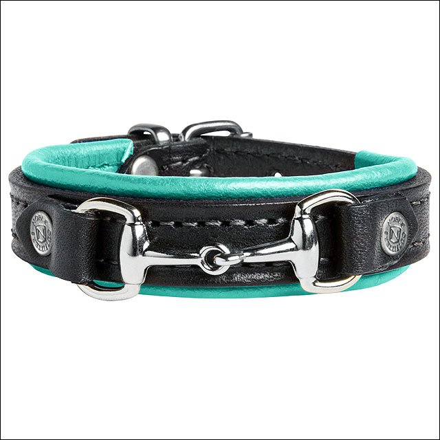 "8 3/4"" NOBLE OUTFITTTERS ADJUSTABLE LEATHER ON THE BIT BRACELET AQUA SKY"