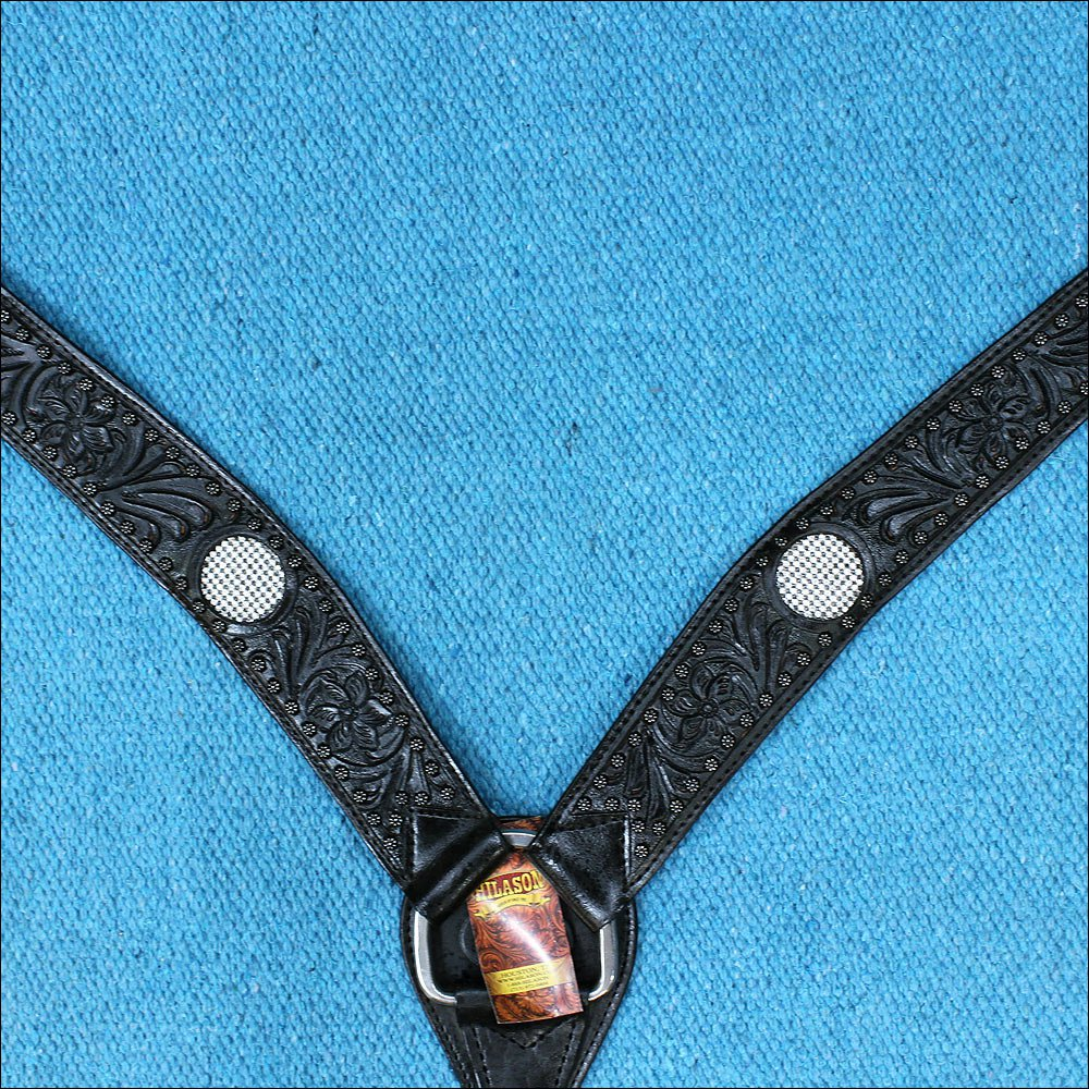 HILASON WESTERN LEATHER HORSE BREAST COLLAR BLACK BLING CRYSTAL INLAY
