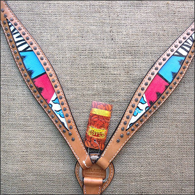 F519 NEW HILASON WESTERN HAND PAINT LEATHER HORSE BREAST COLLAR