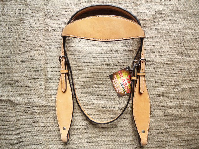 S515 HILASON WESTERN LEATHER HORSE BRIDLE HEADSTALL TAN
