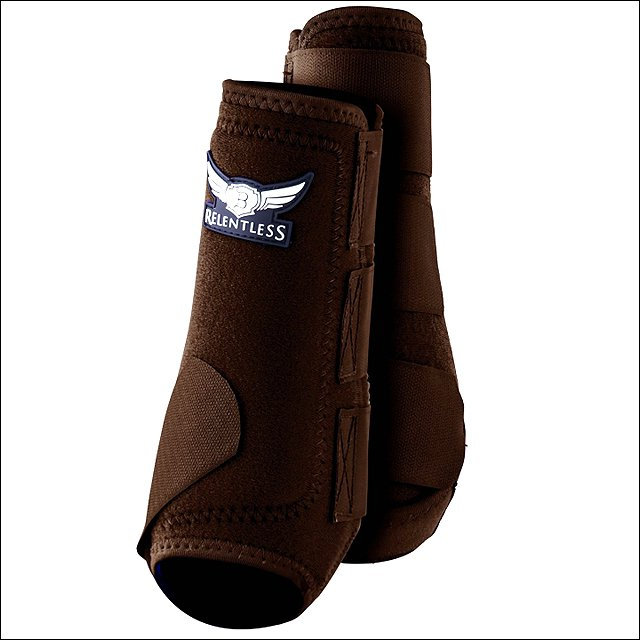 LARGE TREVOR RELENTLESS ALL AROUND HORSE SPORT HIND REAR BOOTS PAIR CHOCOLATE