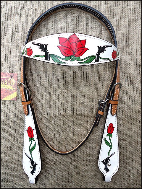 S80 HILASON WESTERN LEATHER HORSE HEADSTALL BRIDLE HAND PAINT RED ROSECROSS GUN