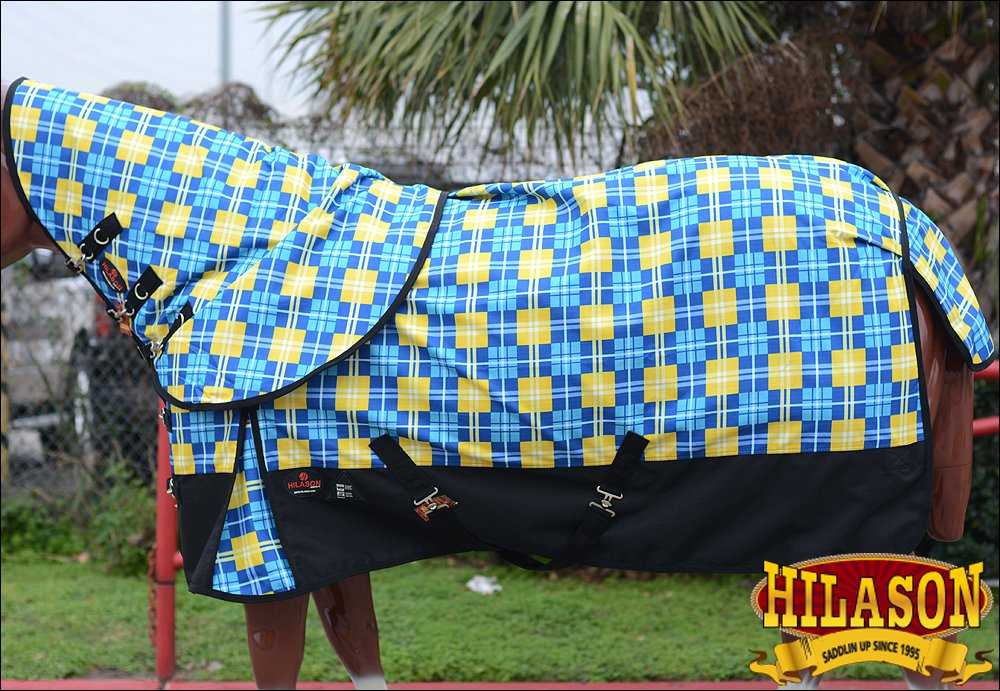 """78"""" HILASON 1200D WATERPROOF POLY TURNOUT HORSE BLANKET NECK COVER BLUE YELLOW"""