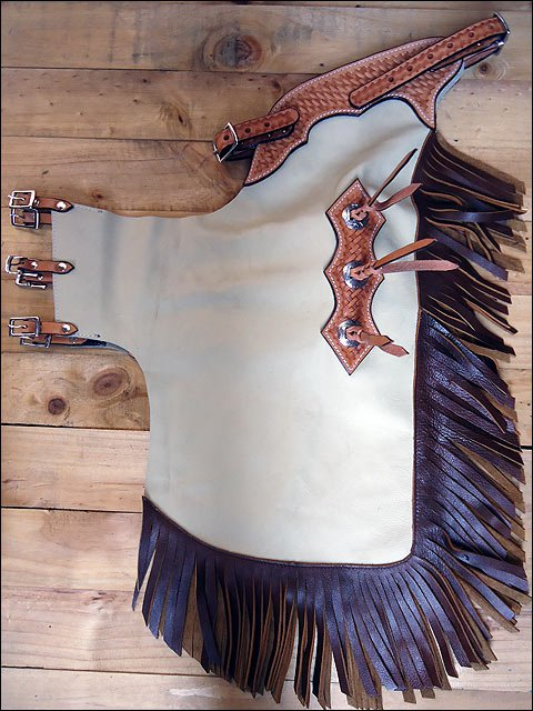 HILASON YOUTH / CHILD PRO RODEO BRONC BULL-RIDING SMOOTH LEATHER CHINKS CHAPS