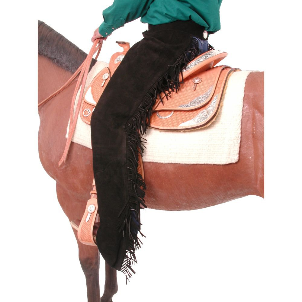 X SMALL TOUGH 1 SUEDE LEATHER EQUITATION CHAPS W/ FRINGE BLACK