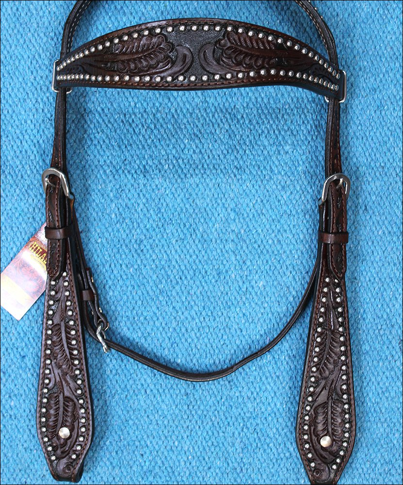HILASON WESTERN LEATHER HORSE BRIDLE HEADSTALL DARK BROWN ACORN HAND TOOL