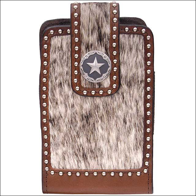 3D BROWN LARGE LEATHER SMARTPHONE HOLDER W/ HAIR ON INLAY ELASTIC STAR CONCHO