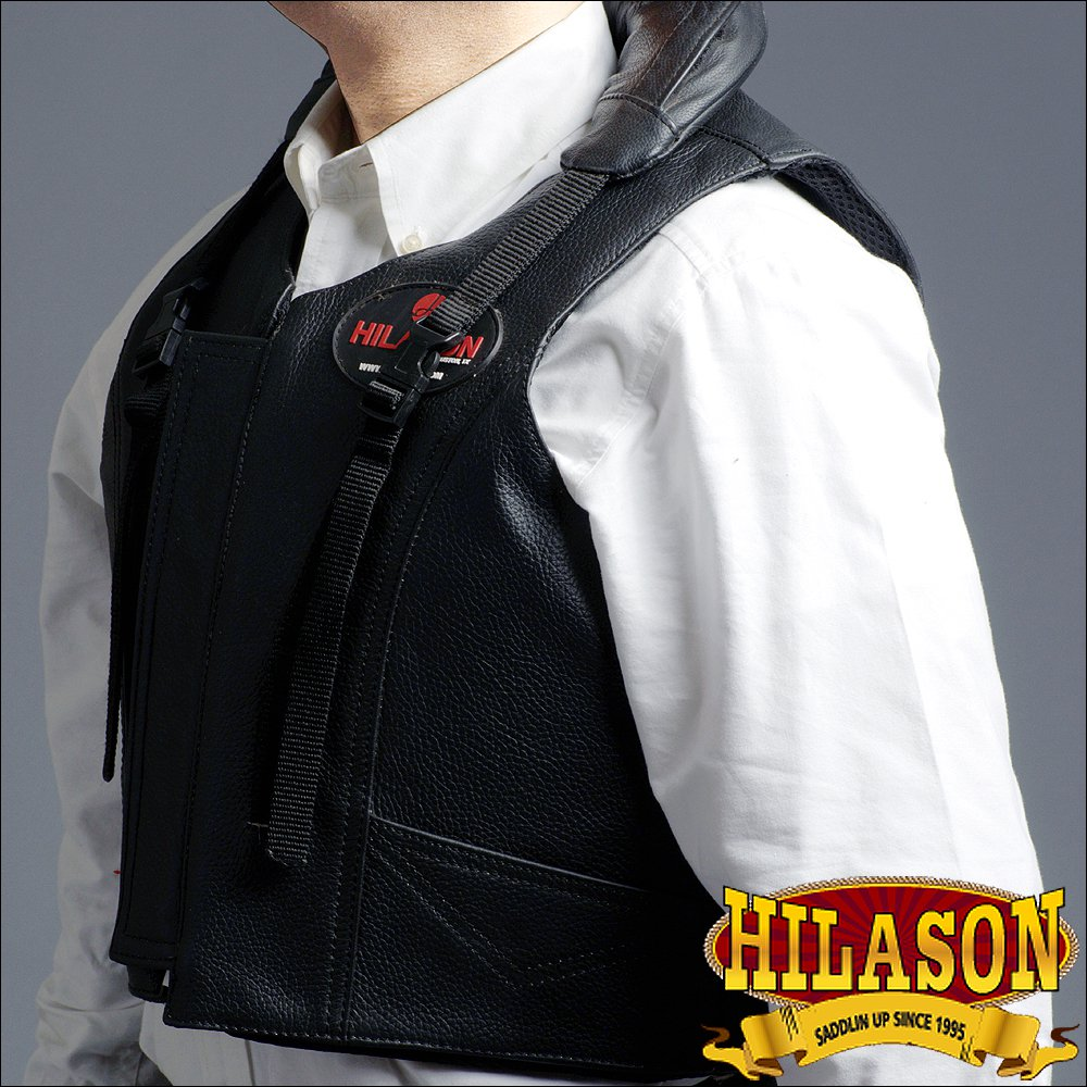 PV101- HILASON LEATHER BAREBACK PRO RODEO BULL RIDING PROTECTIVE VEST BLACK