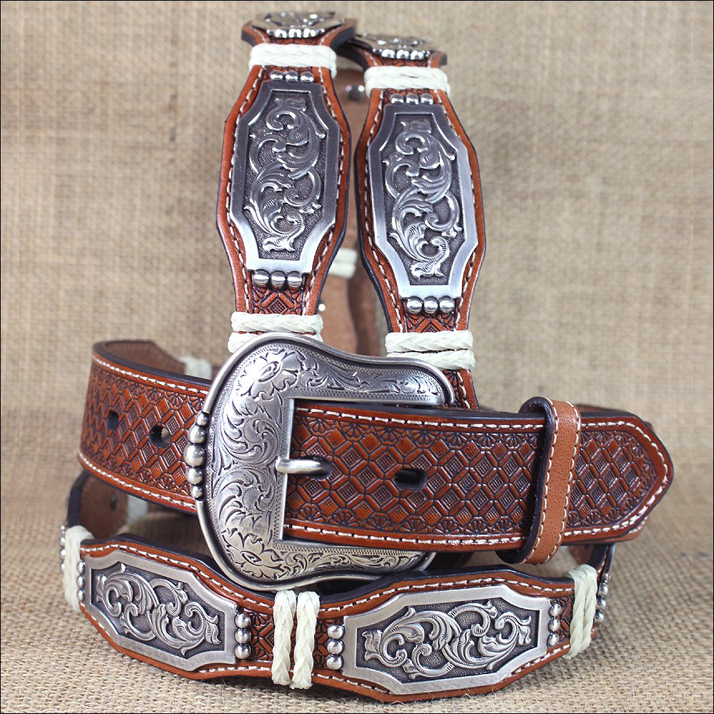 M&F WESTERN ARIAT SCALLOP CONCHOS RAWHIDE WRAPS TAN LEATHER MEN'S BELT 32-46 in