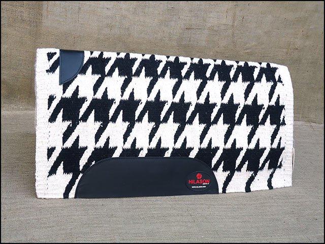 FEP231 HILASON SHOW NEW ZEALAND WOOL SADDLE BLANKET WESTERN BLACK WHITE