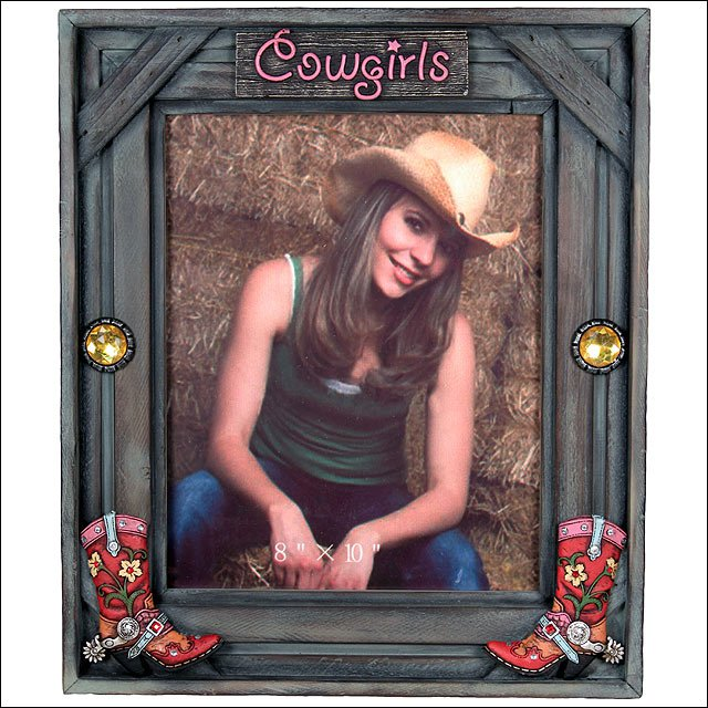 8X10 RIVERS EDGE HOME D�COR COWGIRL PICTURE FRAME W/ POLY RESIN ACCENT