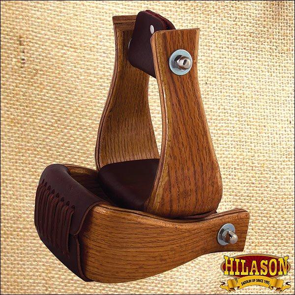HILASON 4 inch OAK WOOD HORSE SADDLE BELL STIRRUPS
