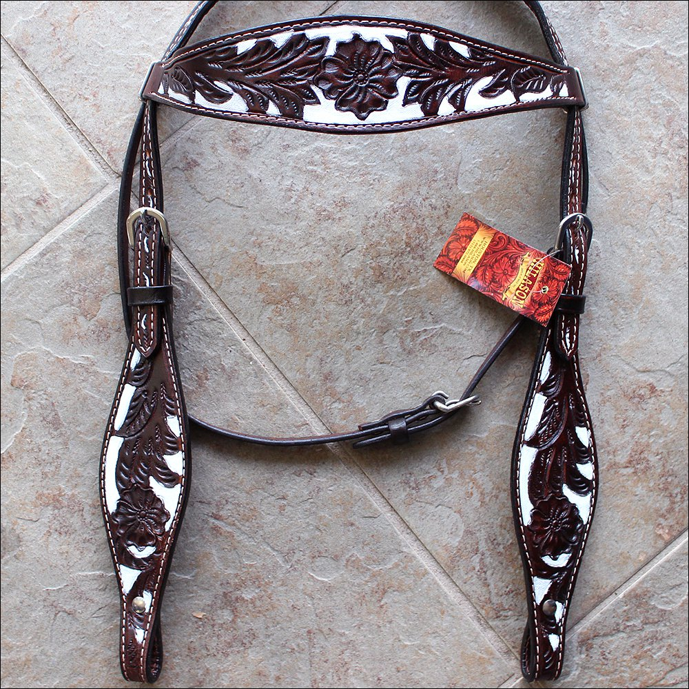 HILASON WESTERN LEATHER BRIDLE HEADSTALL DARK BROWN W/ WHITE HAND PAINT INLAY