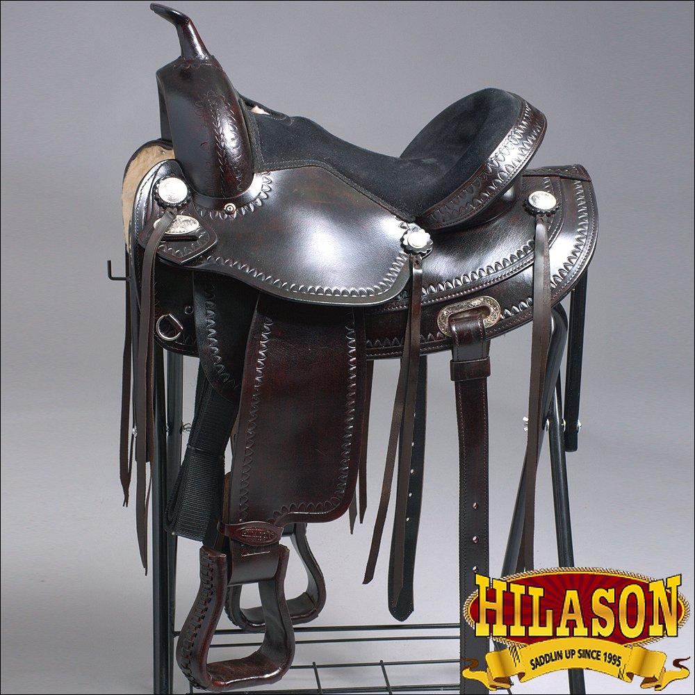 TO108DB-F HILASON TREELESS WESTERN LEATHER TRAIL PLEASURE HORSE RIDING SADDLE 18
