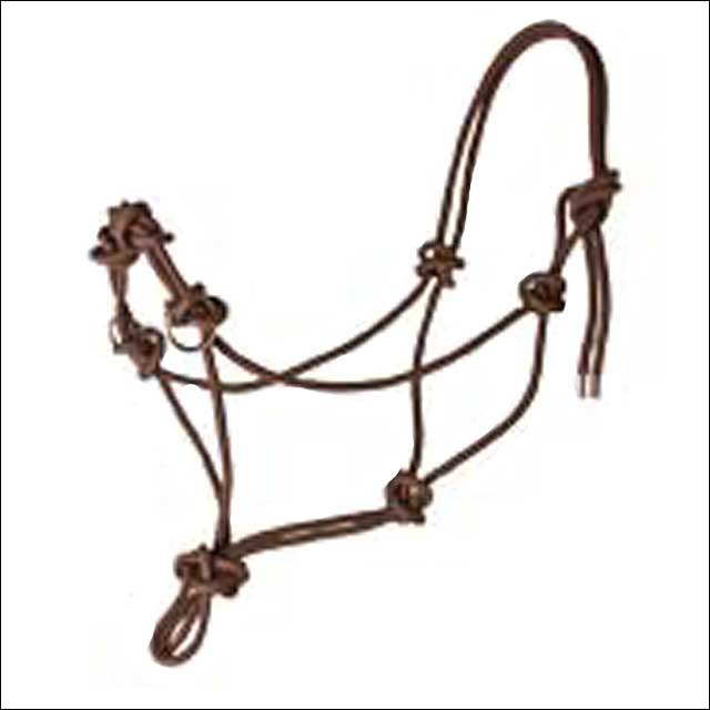 HILASON WESTERN TACK SIDE PULL HORSE ROPE HALTER BROWN W. NICKLE PLATED RING