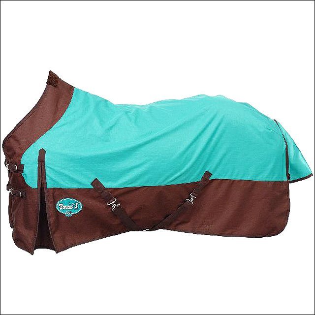 72 INCH TURQUOISE BROWN TOUGH-1 1200D WATERPROOF HORSE WINTER SHEET