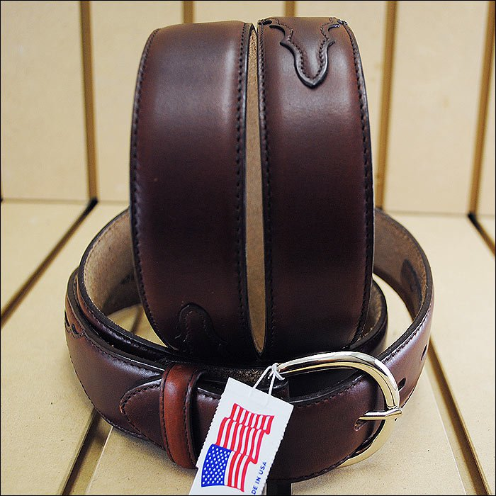 46 inch SILVER CREEK CLASSIC WESTERN LEATHER MANS BELT BROWN MADE IN THE USA
