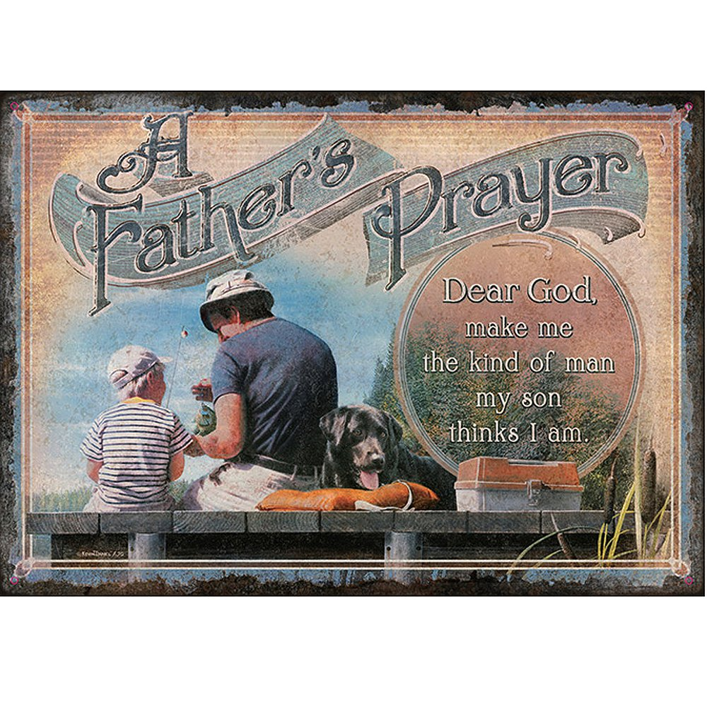 12X17 RIVERS EDGE A FATHERS PRAYER DURABLE WEATHERPROOF EMBOSSED TIN SIGN