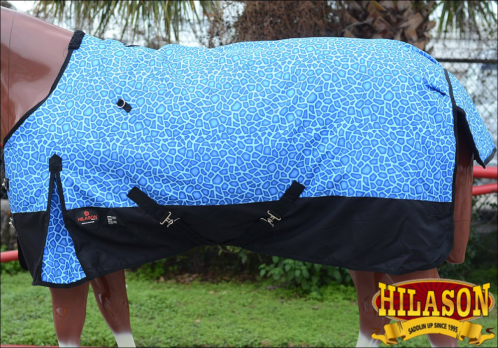 "75"" HILASON 1200D POLY RIPSTOP WATERPROOF HORSE WINTER BLANKET BLUE GIRRAFE"