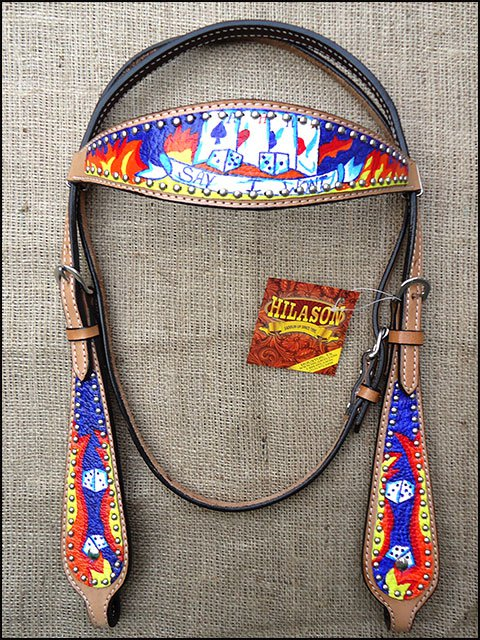 S511 NEW HILASON WESTERN LEATHER HORSE BRIDLE HEADSTALL HAND PAINT FLAMES CARDS