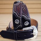 42in. JUSTIN TEXAS ALL STAR WESTERN LEATHER MEN BELT BLACK WITH STAR CONCHO