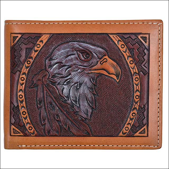 4 1/4 x 3 1/2 3D TAN WESTERN MENS BIFOLD HAND TOOLD LEATHER WALLET EAGLE DESIGN
