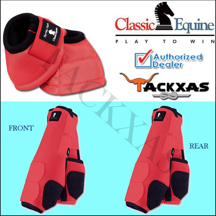 LARGE CORAL CLASSIC EQUINE FRONT REAR LEGACY SPORTS HORSE NO TURN BELL BOOTS