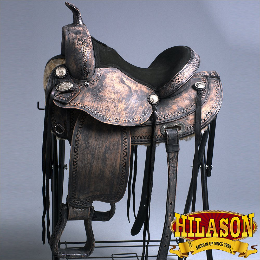 TO102DBRO-F HILASON TREELESS WESTERN LEATHER TRAIL PLEASURE RIDING SADDLE 15""