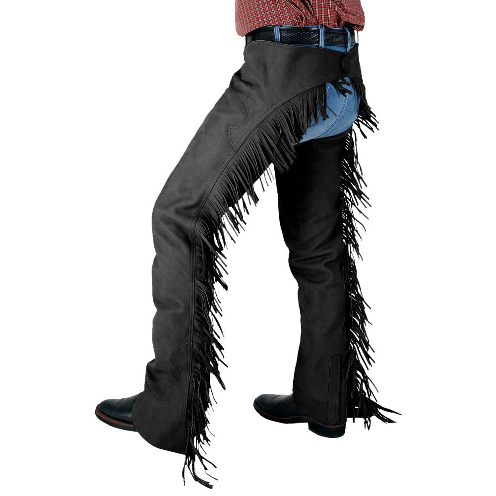 X LARGE TOUGH 1 LUXURY SYNTHETIC SUEDE LEATHER CHAPS W/ FRINGE BLACK