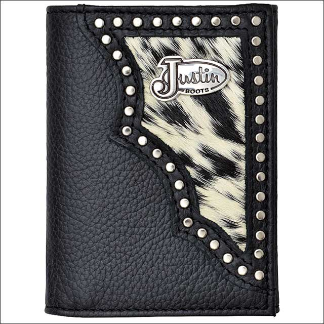 JUSTIN BLACK PEBBLE GRAIN LEATHER SHELL WESTERN TRIFOLD WALLET W/ HAIR ON INLAY