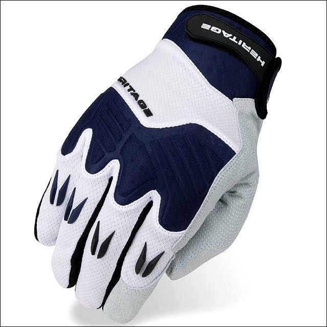 07 SIZE HERITAGE POLO PRO HORSE RIDING EQUESTRIAN PADDED GLOVE WHITE/NAVY