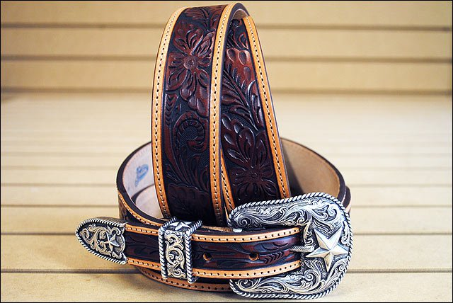 44in. JUSTIN TOOLED TAPER WESTERN LEATHER MEN BELT BROWN SILVER ENGRAVED BUCKLE