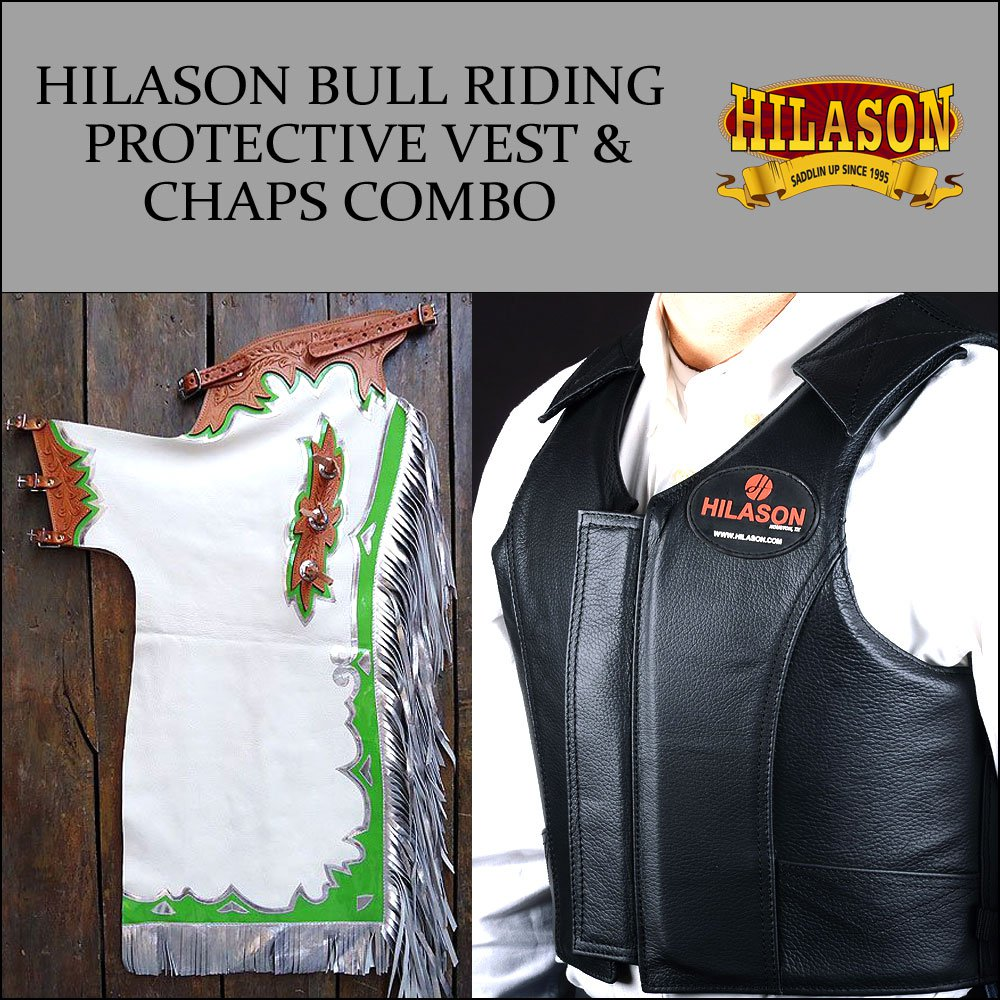 F27 HILASON WESTERN RODEO BRONC BULL RIDING SMOOTH LEATHER CHAPS PROTECTIVE VEST