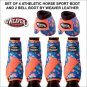 SET OF 4 BLUE CORAL ATHLETIC HORSE LEG BOOT AND 2 NO TURN BELL BOOTS WEAVER