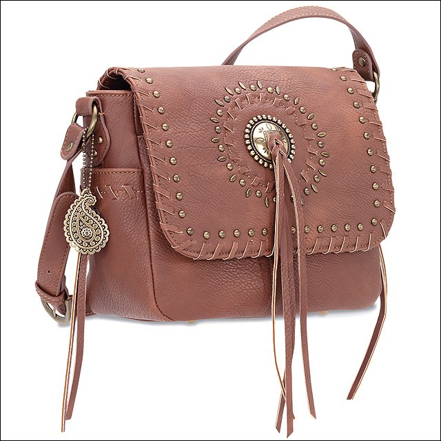 AMERICAN WEST BANDANA SIOUX LADIES CROSSBODY SHOULDER FLAP HAND BAG BRASS SPOTS
